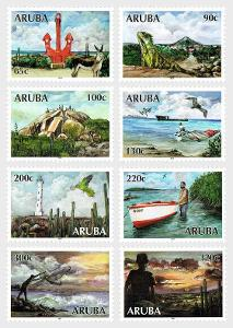Aruba 2017 Známky Mi 1014-1021 ** cestovní ruch ptactvo sport Zvířata
