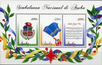 Aruba 2016 Známky aršík Mi 19 ** vlajka státní znak hudba hymna