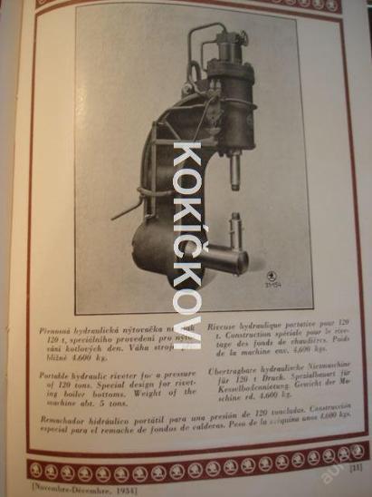 REVUE ŠKODA 1934 NÝTOVAČKA HYDRAULICKÝ LIST AJ. - Knihy