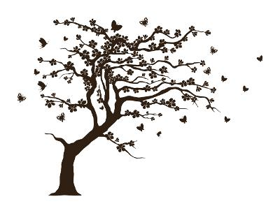 Strom samolepka na zeď 200x120 cm, velurová barvy na vyber 38 vzorů
