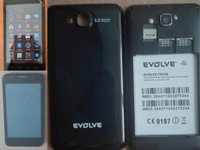 """Černý mobil EVOLVEO FX520 5.0"""" je funkční(i LCD je OK) jen dotyk KO"""