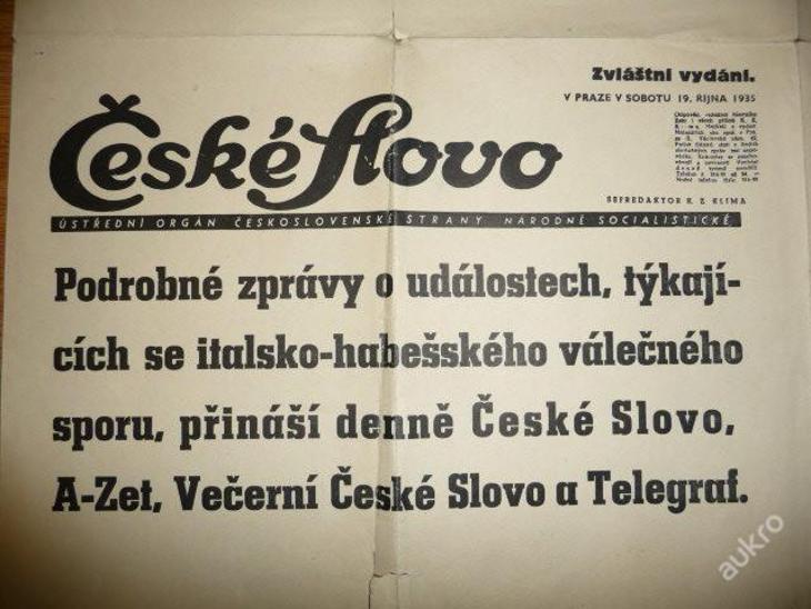 ČESKÉ SLOVO - ZVLÁŠTNÍ VYDÁNÍ 1935 - Válečný spor - Vojenské