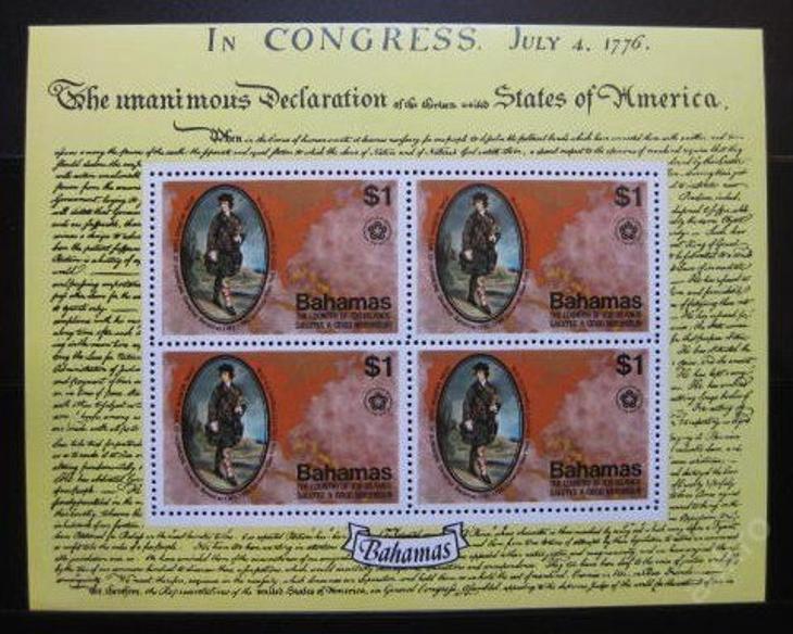 Bahamy 1976 Am. revoluce Mi# Block 16 15€ 1006 - Filatelie