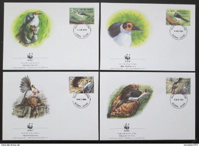 Sierra Leone 1994 Ptáci 168 Mi# 2171-74 FDC WWF
