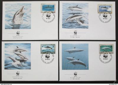 Montserrat 1990 Delfíni 103 Mi# 786-89 FDC WWF
