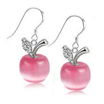 Náušnice Jablíčko růžový opal zirkon *55