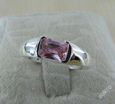 Prsten růžový zirkon 17.5mm stříbřený .925 *213