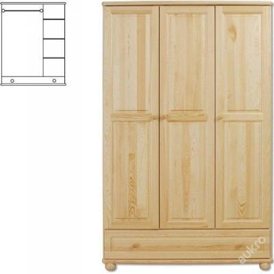 Dřevěná šatní skřín se šuplíkem SF106 borovice mas