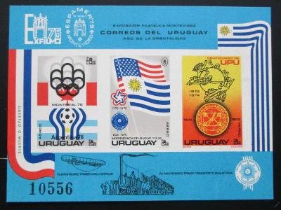 Uruguay 1975 MS ve fotbale neperf. Mi# Block 28 B