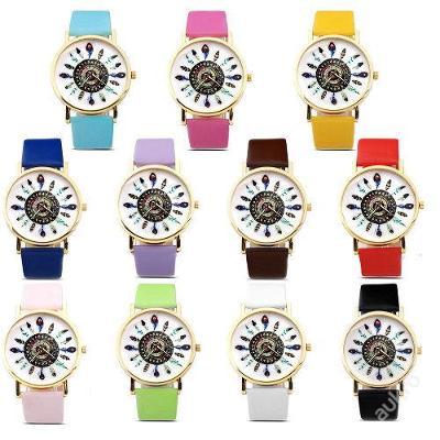 Módní hodinky Geneva s barevnými pírky 11 barev
