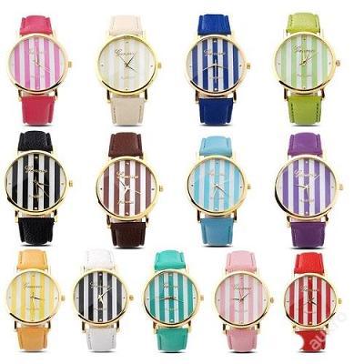 Módní hodinky Geneva s proužkami 13 barev