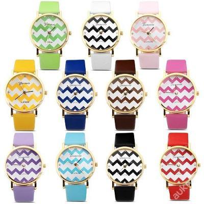 Módní hodinky Geneva s vlnky 11 barev