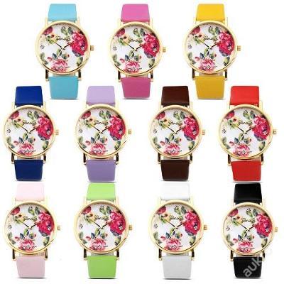 Módní hodinky Geneva s růžemi 11 barev
