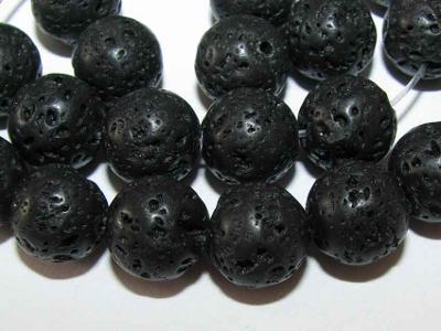 Láva černá, kuličky 10mm, korálky Lv21-10