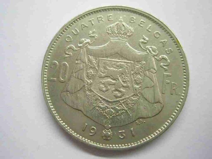 Belgie 20 Frank 1931 Belges vzácný - Numismatika