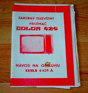 TESLA COLOR 429 TELEVIZOR - DOBOVÝ NÁVOD, ÚČET
