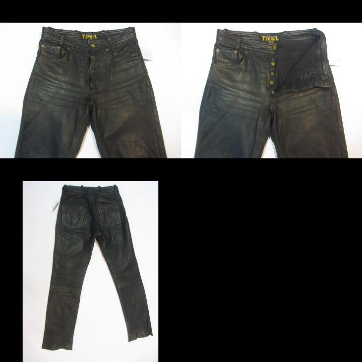 Kožené kalhoty TSHUL vel. 29 - obvod pasu: 74 cm - Náhradní díly a příslušenství pro motocykly