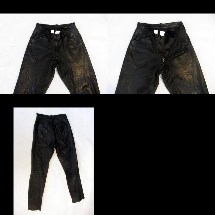 Kožené kalhoty W 33 L 32 - obvod pasu: 82 cm - Náhradní díly a příslušenství pro motocykly
