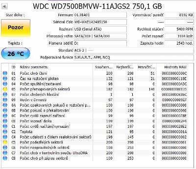 Černé externí WD Element Portable USB3.0 750GB na ND, opravu!
