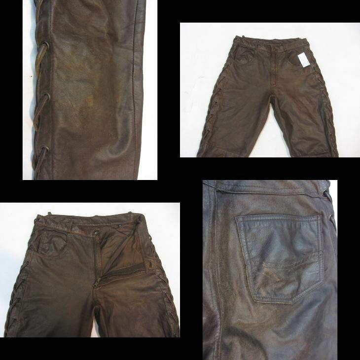 Kožené hnědé šněrovací kalhoty vel. 29 - pas:74  - Náhradní díly a příslušenství pro motocykly