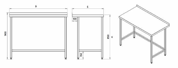 Nerezový stůl 110x60x85cm - Gastronomie, Hotel