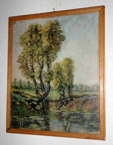 PĚKNÁ KRAJINKA - STROMY U VODY - VRÁNA 1953 - Umění