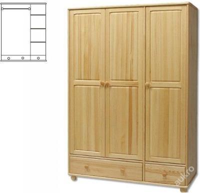 Třídveřová dřevěná šatní skřín SF121