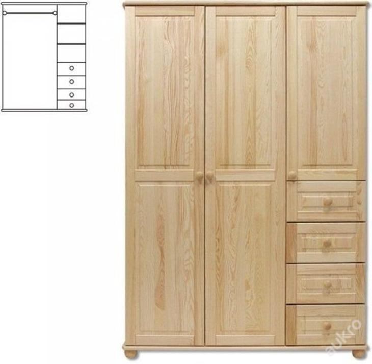 Kombinovaná šátní skřín SF108 borovice masiv - Nábytek