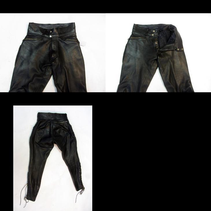 Kožené kalhoty - obvod pasu: 74 cm  - (8759) - Náhradní díly a příslušenství pro motocykly