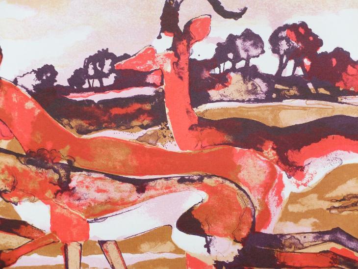 LORENZ EBERHARD SAVANA 1976 VELIKÁ BAREVNÁ AKVATINTA - Umění