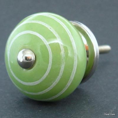 Úchytka keramická knopka zelená proužkatá 4cm