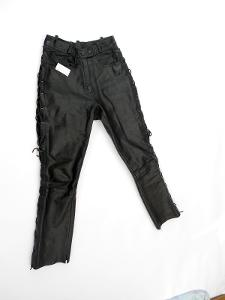 Kožené šněrovací kalhoty vel. 38 - pas: 68 cm