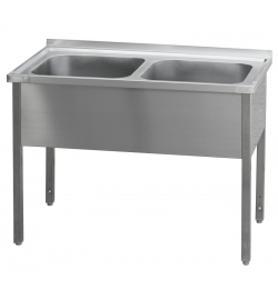 Nerezový stůl s dvoukomorovým dřezem 110x60x85cm
