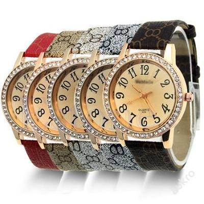 Stylové dámské hodinky s krystalky 5 barev