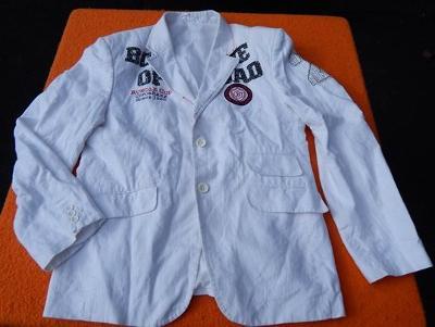 Atraktivní letní bílé sako s nápisy vel.52