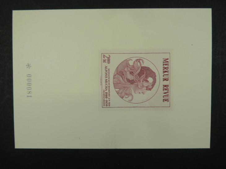 příl. tisk Merkur Revue 2009 - Mucha - číslovaný - Filatelie