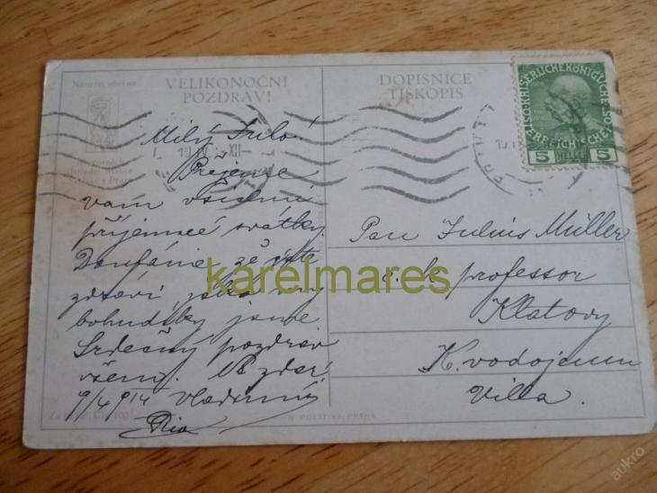 POHLEDNICE- PŘÁNÍ VELIKONOCE, 1914, DÁMY V LESE - Pohlednice