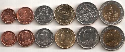 THAJSKO KOMPLETNI SADA MINCI 25+50 Satang +1+2+5+10 Baht 2008- UNC