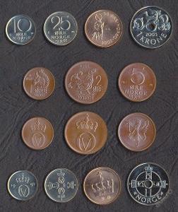 NORSKO SADA MINCI 1+2+5+10+25+50 Ore+1 Krone 1972-2007 7 ks UNC