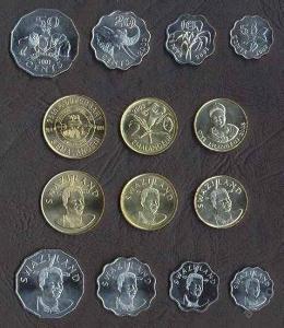 SVAZIJSKO KOMPLETNI SADA MINCI 5+10+20+50 Cents +1+2+5 Emalangeni UNC