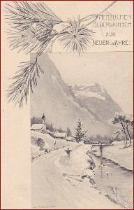Nový rok * venkovský motiv, hory, krajina, gratulační * M6316