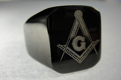 Prsten zednářský řád černý masonský 18-20mm