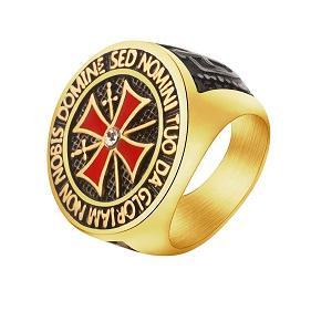Prsten KŘÍŽ templáři zlacený Nobis Domine 18-21mm