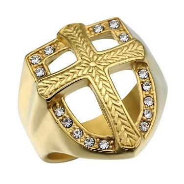 Prsten KŘÍŽ templářský zlacený zirkony 18-21mm - Šperky