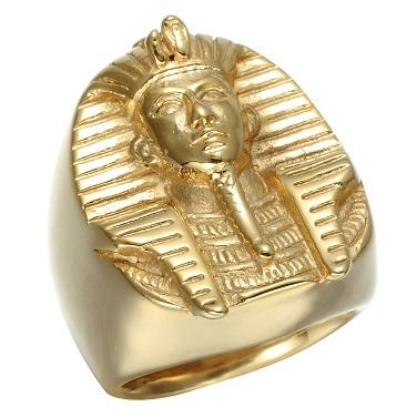 Prsten Egyptský Maska Tutanchamon zlacený 19mm