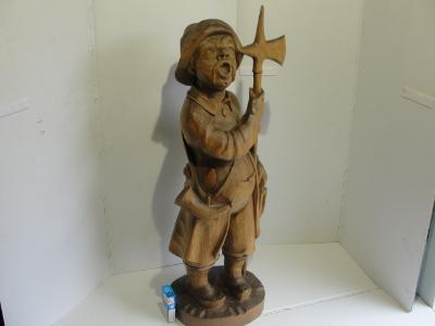 Velká dřevěná, vyřezávaná socha, Ponocný, Strážný - 79cm!