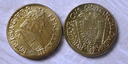 Dukát Ferdinand III pozlacený replika M-0146