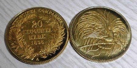 Německá Nová Guinea 20m pozlacená replika M-0164