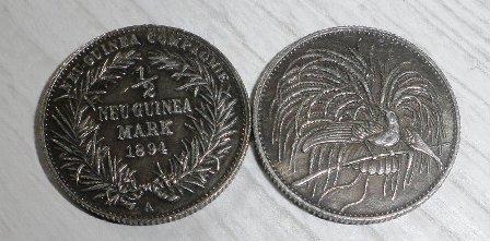 Německá Nová Guinea 1/2m stříbřená replika M-0187