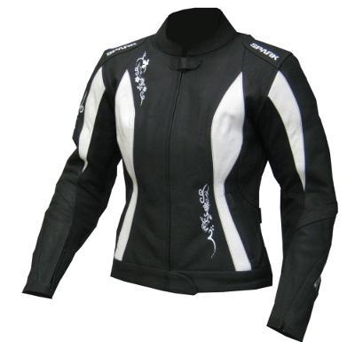 Dámská kožená moto bunda Spark Jane, bílá - 4XL